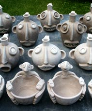 pottery bowls with faces