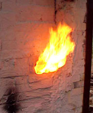 flames from pottery kiln